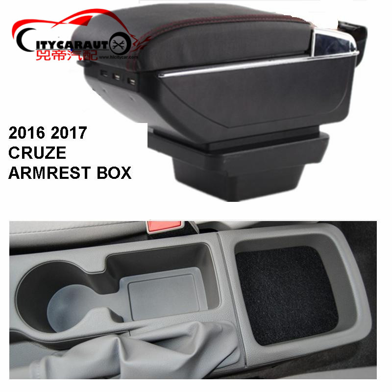 ФОТО CITYCARAUTO central armrest BIG SPACE+LUXURY+USB armrest box content box with cup holder LED USB FOR NEW CRUZE 2016-17 FREE SHIP