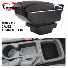 CITYCARAUTO central armrest BIG SPACE+LUXURY+USB armrest box content box with cup holder LED USB FOR NEW CRUZE 2016-17 FREE SHIP