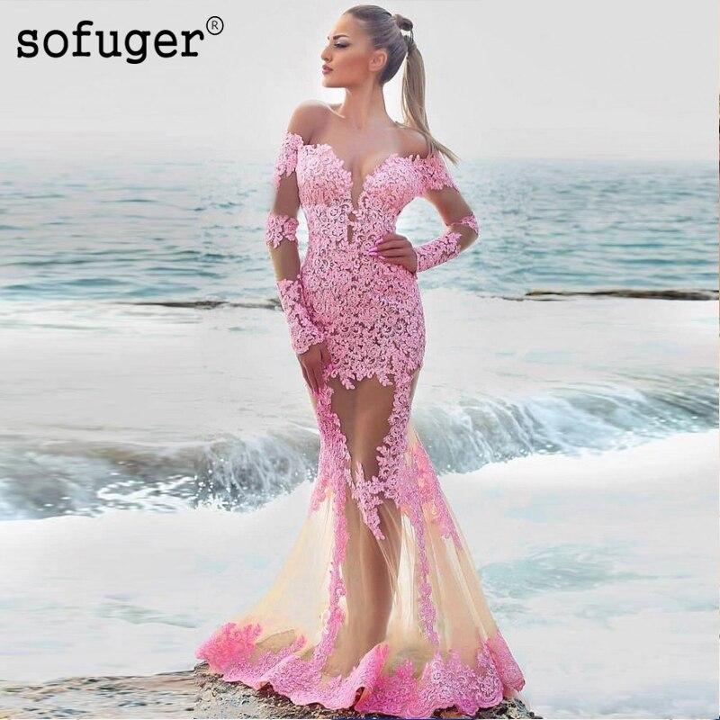 Pink Lace Sexy Mermaid Back Illusion Appliques Evening Floor Length Vestidos De Festa Prom Dresses Party Evening Dress in Evening Dresses from Weddings Events