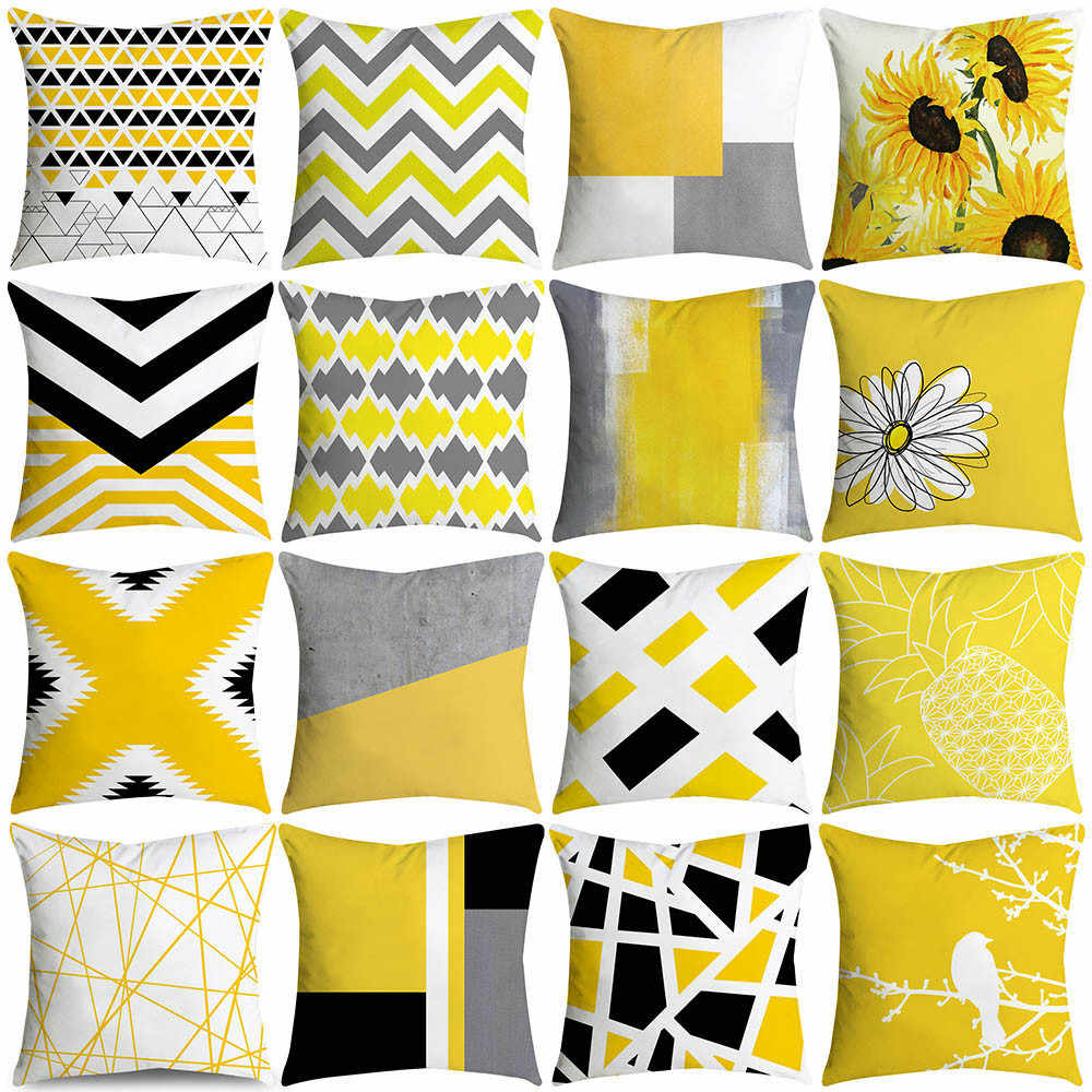 Pillowcases Pineapple Leaf Yellow Throw Pillow Case Sofa Car Waist Throw Cushion Cover Home Decor Kussenhoes Pillow Cover Cojine