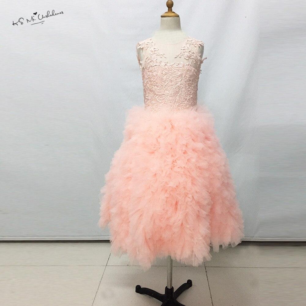 Lovely Pink Children Flower Girl Dresses for Weddings 2017 Lace Ball Gown Girls Pageant Dress Prom Dress Child Vestidos Infantis