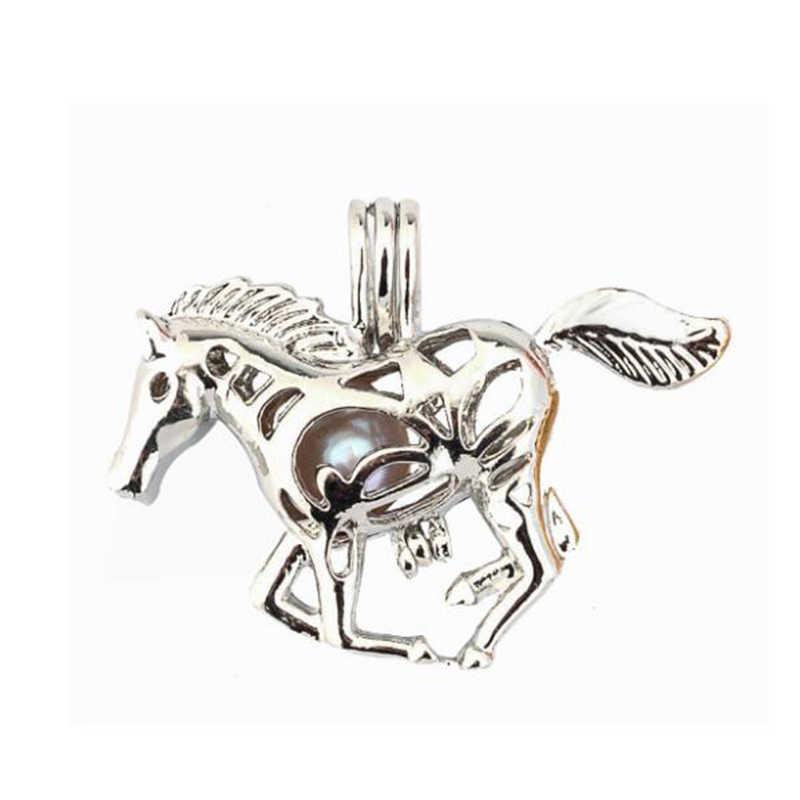 Silver Horse กรงไข่มุกเครื่องประดับกรง Locket จี้น้ำมันหอมระเหย Diffuser Locket สำหรับ Oyster Pearl สร้อยคอผู้หญิง