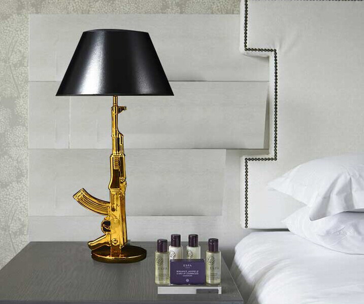Gun Table Lamp By Philippe Starck AK47 Desk Light Gold Chrome For Bedroom  Bedside In Desk Lamps From Lights U0026 Lighting On Aliexpress.com | Alibaba  Group