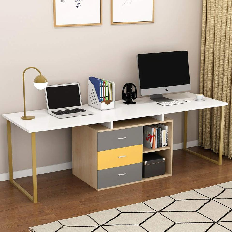 - Extra Long Computer Desk For 2 Person Adjustable Double