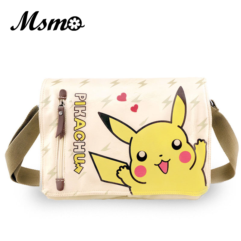 cd9f633250 MSMO Cartoon Pokemon Pikachu Messenger Bag Girls Boys School Bags Kids Book Bag  Shoulder Bags for