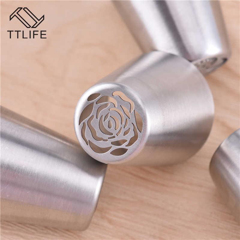 TTLIFE Rose ดอกไม้เค้กช็อกโกแลตหัวฉีดสแตนเลส Icing Piping Nozzle คุกกี้แม่พิมพ์ DIY Baking ตกแต่งเครื่องมือ