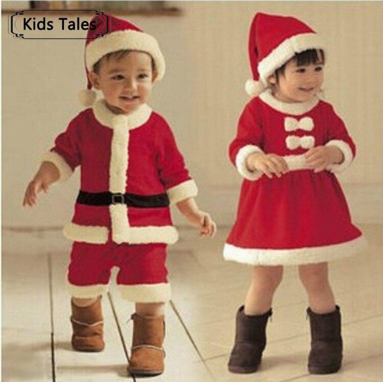 SR039 bebé recién nacido ropa de bebé bebe bebé Niños y Niñas Ropa de Navidad rojo y blanco vestido de fiesta sombrero de Santa Claus deslizadores