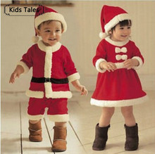 baby girls and boys Christmas red and white party dress hat Santa Claus