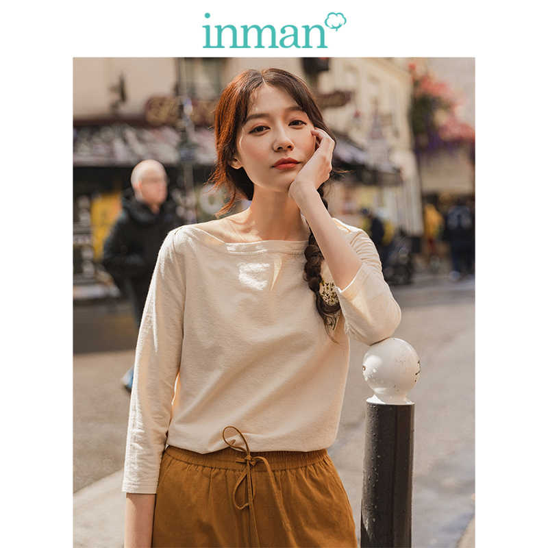INMAN 2019 Autumn New Arrival Elegant Boat Neck Embroidery Minimalism All Matched Casual Three Quarter Sleeve Women T-shirt