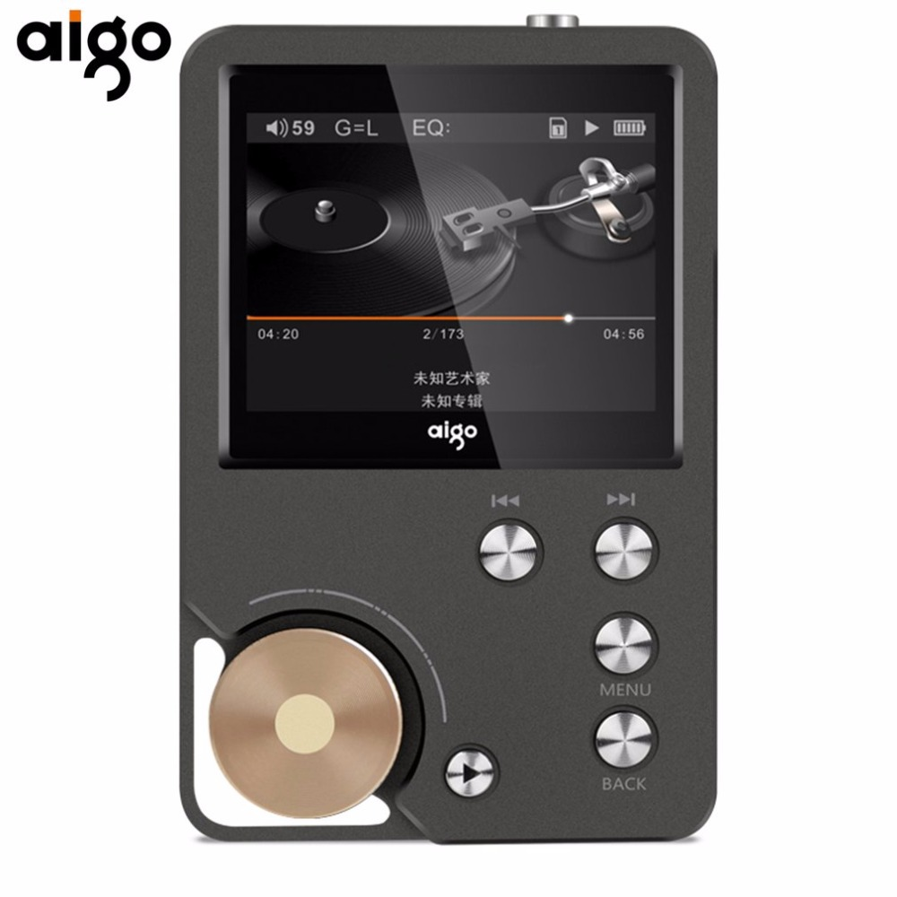 Aigo Portable Hifi Music Player Lossless Music 8GB memory With 2.0 Inch TFT Screen Display Dual Channel Output Audio MP3 Player 2016 brand new aigo eros q high quality dsd64 bluetooth 4 0 portable audio lossless hifi music player usb dac support otg