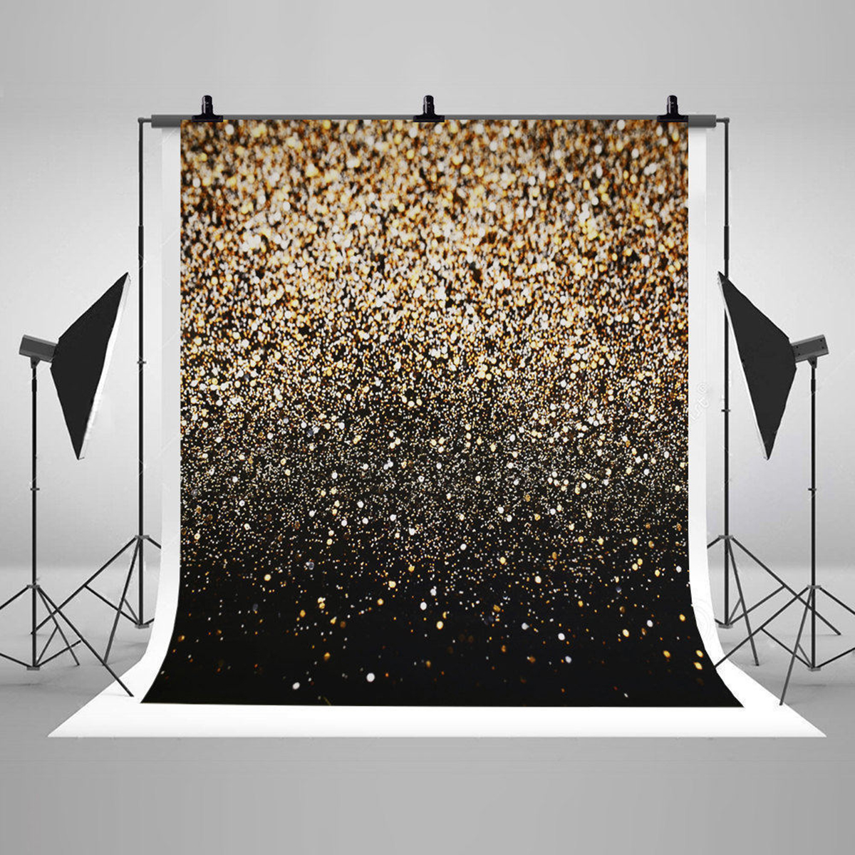 Black Gold Dots Photography Backdrop Glitter Vinyl Fabric Background Cloth Studio Photo Booth Props Party Wedding Decorations