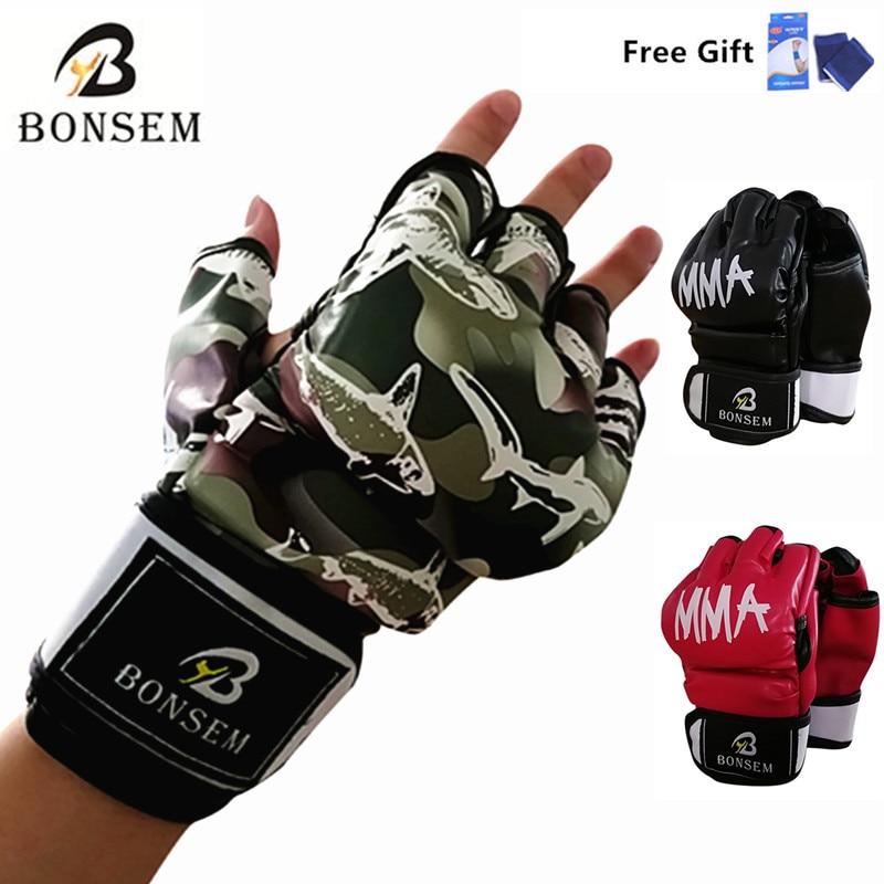 Camouflage Mezza Guanti Muay Thai Boxing Gloves Formazione Punching Sparring Grappling guanti del sacchetto di Sabbia Kickboxing Lotta Palestra Per Gli Uomini/Donna