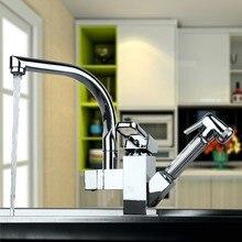На бортике Полированный Хром 360 Двойной Носик смеситель Для Кухни Pull Out Смесителя на Одно Отверстие Смесители для Раковины