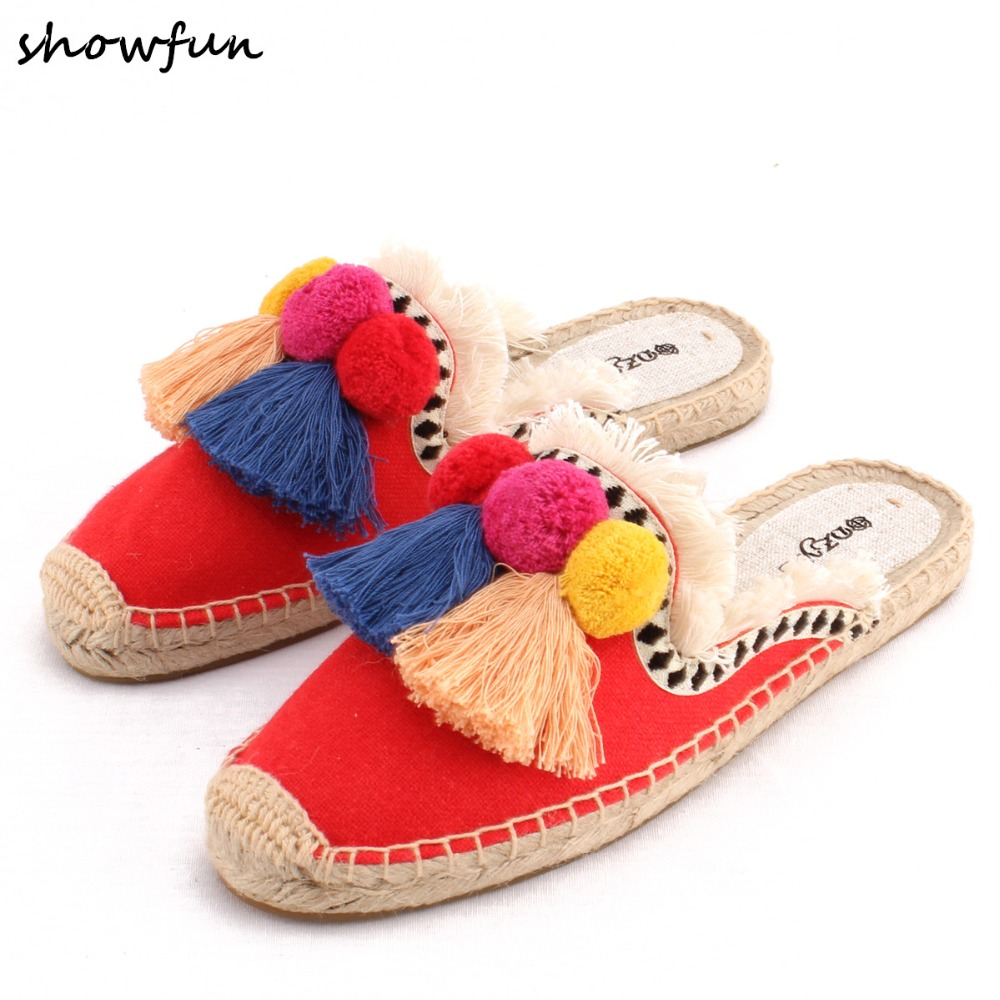 Womens fringe fashion slides summer comfortable slides high quality female slip-on hemp sole espadrilles leisure shoes sandalsWomens fringe fashion slides summer comfortable slides high quality female slip-on hemp sole espadrilles leisure shoes sandals