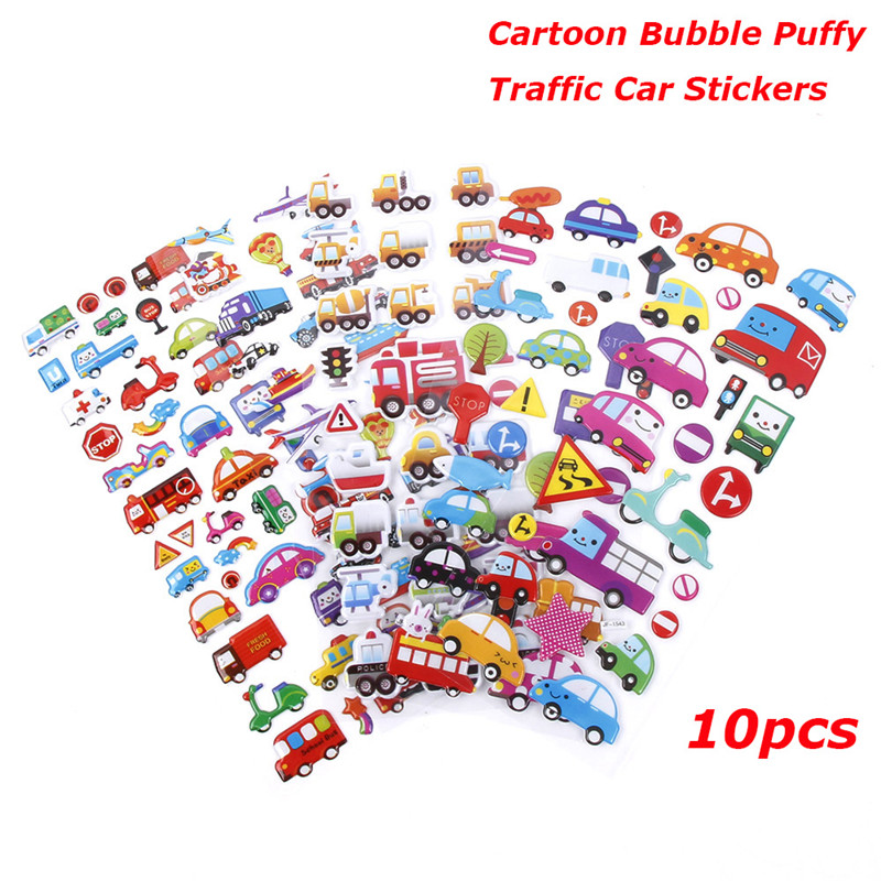 6 Sheets Novelty Cartoon Bubble Puffy Sticker Masking Traffic Car Diary Stickers Planner Stickers/stationery Products