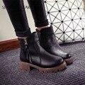 2016 novos Outono e inverno das mulheres sapatos vintage da moda tornozelo botas mulheres botas de salto grosso zíper lateral botas de couro feminina sapatos