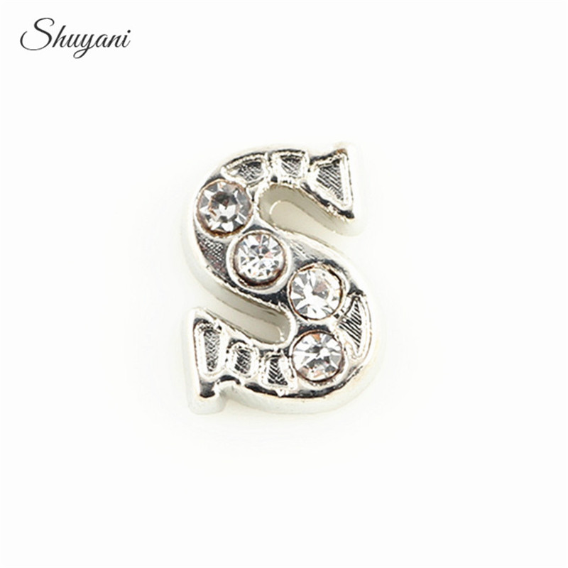 20PCS Fashion Silver/Gold Color Floating Locket Charms Crystal Alphabet Letter S Charms  ...