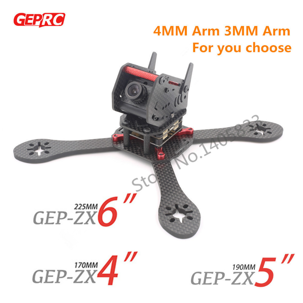 DIY FPV GEPRC GEP-ZX4 170mm / GEP-ZX5 190mm / GEP-ZX6 225mm 4-Axis 3K Carbon Fiber Frame 4MM & 3MM Arm For FPV Racing Quadcopter geprc gep zx4 gep zx5 gep zx6 170mm 190mm 225mm 4 axis 3k carbon fiber frame kit with 12v 5v pdb board for rc multicopter