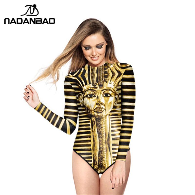 Loog Sleeve Zippered Surfing Bathing Suit Pharaohs Of Ancient Egypt Printed Women Swimwear Bodysuit One Piece Swimsuit Y02031 the pharaohs of ancient egypt