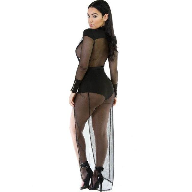 Newest Women Slim Crazy Mesh Bodysuit Sexy Plunge V Long Sleeve Rompers Lady Autumn Playsuits Combinaison Femme LC64211