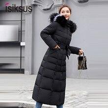 Isiksus стеганые теплые пуховики женские s зимние плюс размер длинные стеганые черные с капюшоном пальто с мехом Куртка парки для женщин WP042