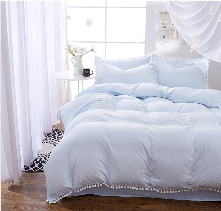 Light Blue Bedding Sets With Hairball Twin Full Queen King Size 3/4pcs Bed  Linings