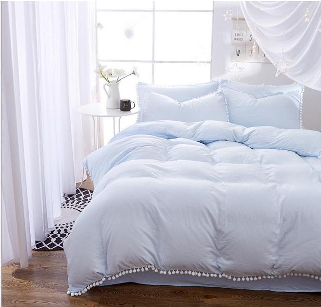 light blue bedding sets with hairball twin full queen king size 34pcs bed linings - Blue Bedding Sets