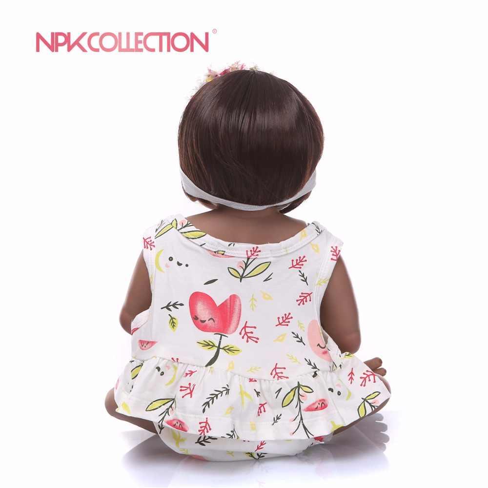 NPK 57 см черный и розовый всего тела силиконовые девушки Reborn игрушки куклы принцесса младенцев волосы для куклы подарок на день рождения Рождество подарок