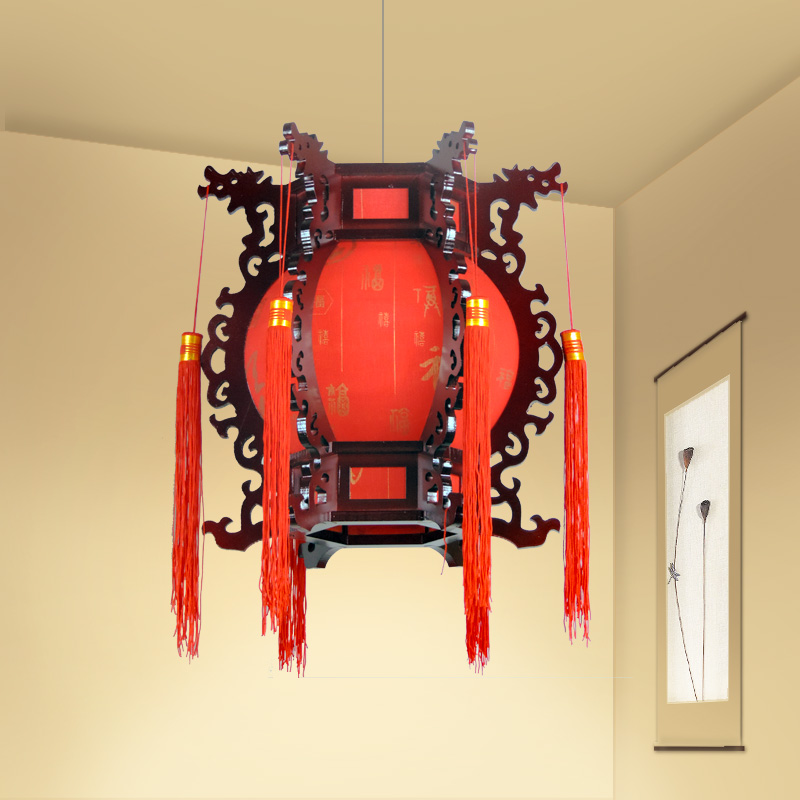Chinese ancient wooden red lantern faucet pendant lights living room restaurant garden study home lighting pendant lamp ZA ZS23 chinese style classical wooden sheepskin pendant light living room lights bedroom lamp restaurant lamp restaurant lights