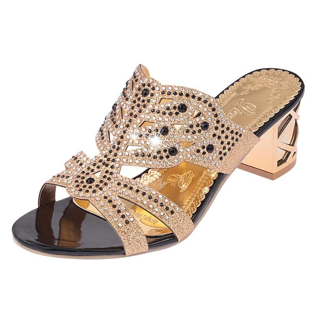 HTB11R bfZIrBKNjSZK9q6ygoVXai SAGACE 2018 Summer Open Toe Chunky Heels Women Sandals Leather Rhinestones Party Shoes Girls Crystals Casual Beach Flip Flops