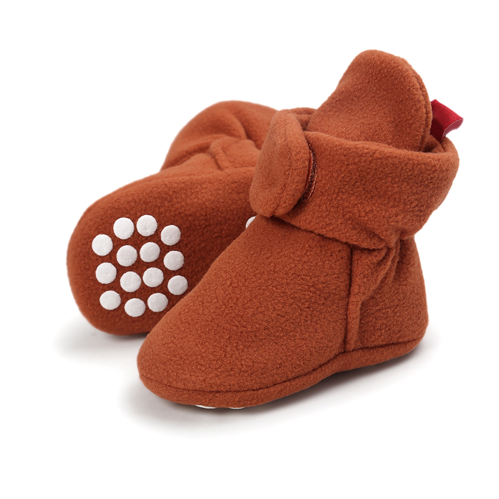 Newborn Toddler Warm Wool Leather Shoes Soft Soled Unisex Snow Boots Baby Crib Shoes Winter Booties 0-18 Months