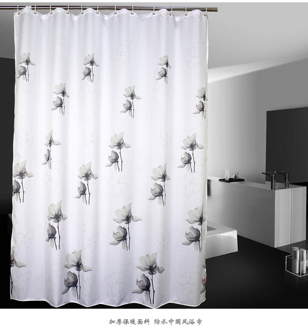 Bathrooms Partitions Painting chinese style wash painting florals black&white shower curtain