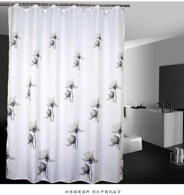 Style chinois Lavage Peinture Floral Noir et blanc Rideau De Douche ...