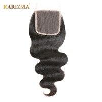 Karizma Middle Part Lace Closure Remy Hair Body Wave Human Hair Natural Black Color 10 18