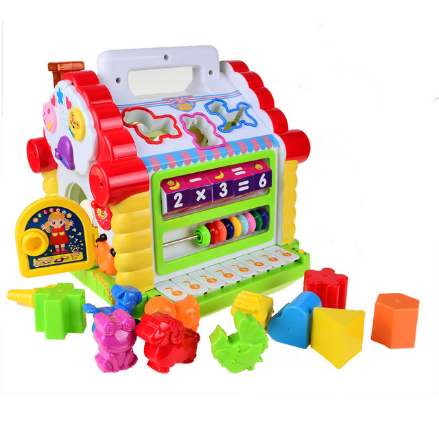 Осгт многофункциональный музыкальный toys красочные детские fun house музыкальная электронная геометрические блоки сортировка обучения образовательных toys