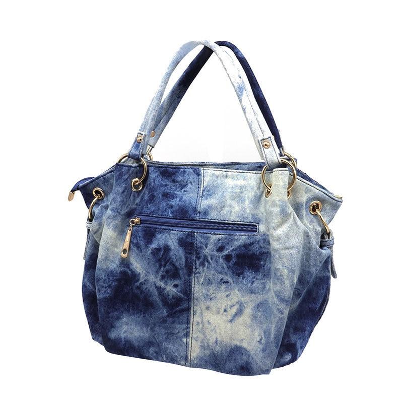 IPinee marque lavé denim sac à main femmes broderie sac à bandoulière femme plus grand sac fourre tout dames messenger sacs-in Sacs à poignées supérieures from Baggages et sacs    3