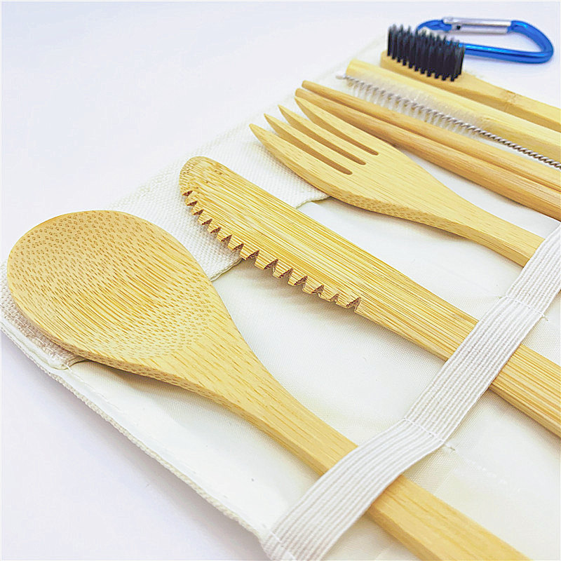To-Go Reusable Bamboo Cutlery Set w/ Charcoal Toothbrush and Carrying Case