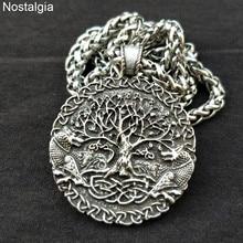 Дерево жизни кулон двойной волк амулет металлический талисман ювелирные изделия для женщин и мужчин ожерелье Прямая поставка