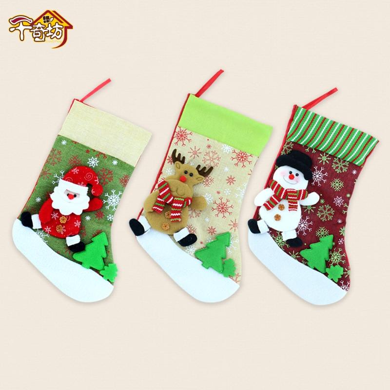 Christmas Santa Clau Snowman, Fawn Linen, Cartoon Christmas Sock Bag Decorations Gift For Child inflatable cartoon customized advertising giant christmas inflatable santa claus for christmas outdoor decoration