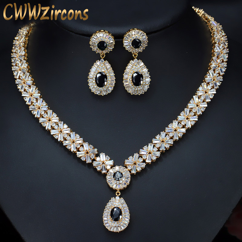 CWWZircons Exquisite Gold Color Round AAA Cubic Zirconia Crystal Women Costume Jewelry Sets With Black Zircon