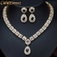 CWWZircons Exquisite Gold Color Round AAA+ Cubic Zirconia Crystal Women Costume Jewelry Sets With Black Zircon Stones T104