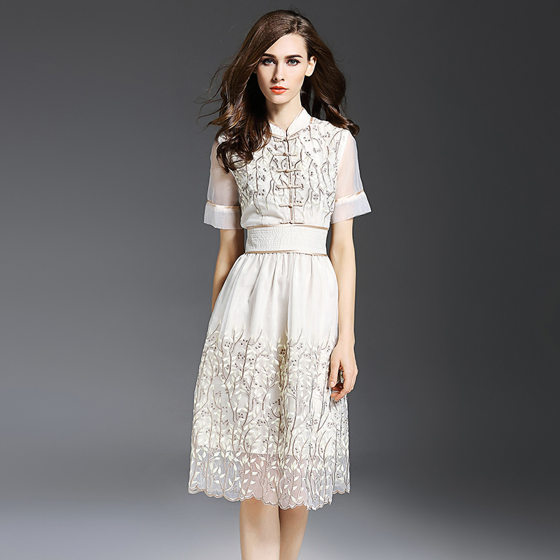 Chinese Style Vintage buckle Women Apricot Dresses Organza Lace Embroidered Party Dress Qipao Cheongsam Dress For Women Clothes
