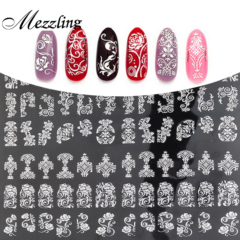 Купить со скидкой New Arrival Silver 3D Nail Art Stickers Decals,108pcs/sheet Stylish Metallic Mixed Designs Nail Tips