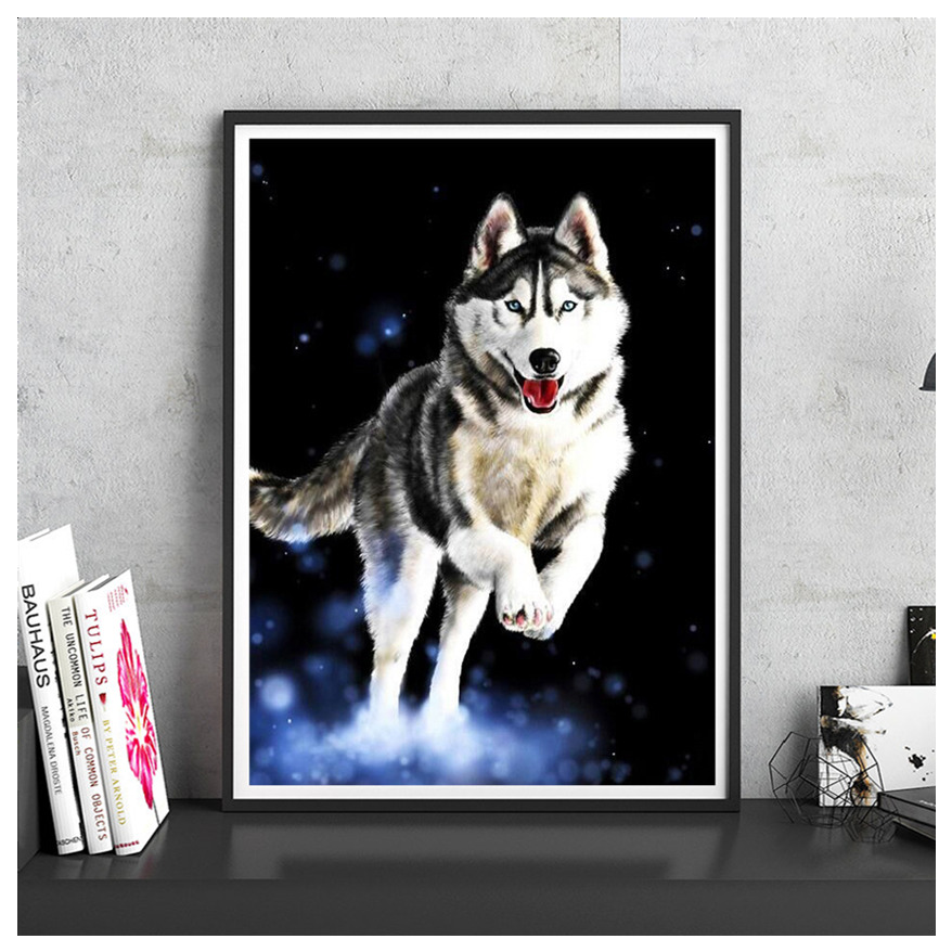 Alaskan Sled Dog Modern DIY Digital Paint Print Poster Number Canvas Oil Painting Cafe House Decoration Wall Picture Living Room