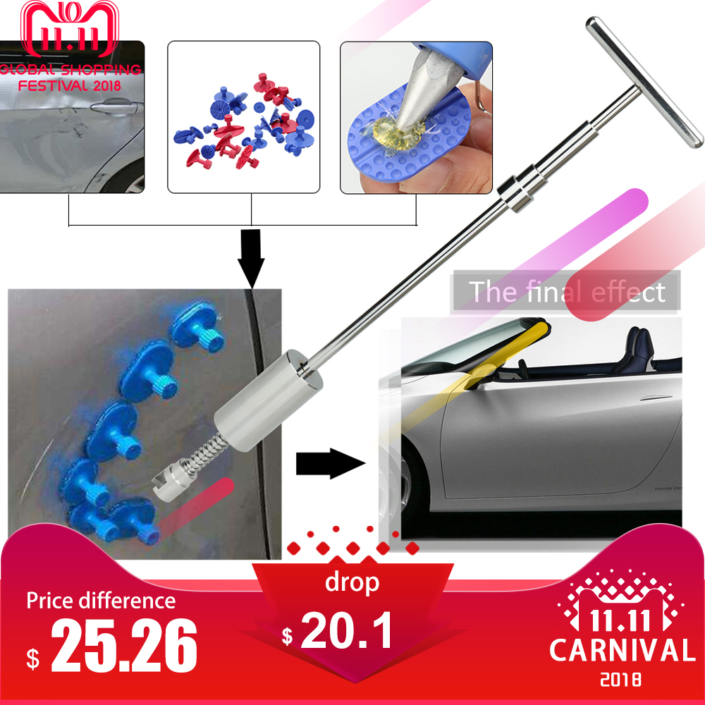29pcs 2 in 1 Two Ways Puller Slide Hammer Tabs of Cars Paintless Dent Repair Tools Kit for bmw e46 e90 ford focus 2 volkswagen