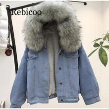women jean jacket Winter Thick Jean Jacket Faux Fur Collar Fleece Hooded Denim Coat Female Warm Denim Outwea initialdream new thick velvet denim jacket outerwear 2019 winter warm women zipper jean jacket coat casual clothing