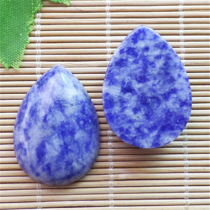 (2 pieces/lot) Wholesale Natural Sodalite Teardrop CAB CABOCHON 31x23x6mm Free Shipping Fashion Jewelry ZY3421