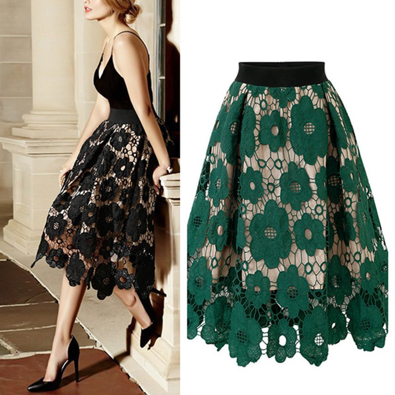 Spring Summer Women Embroidery Lace Skirt Casual Vintage A-Line Skirt Floral Fashion Party Skirt