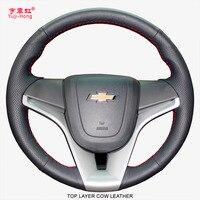Чехлы рулевого колеса автомобиля Yuji-Hong  верхний слой из натуральной коровьей кожи  чехол для Chevrolet Cruze 2009-2015  чехол для трекера Trax Aveo