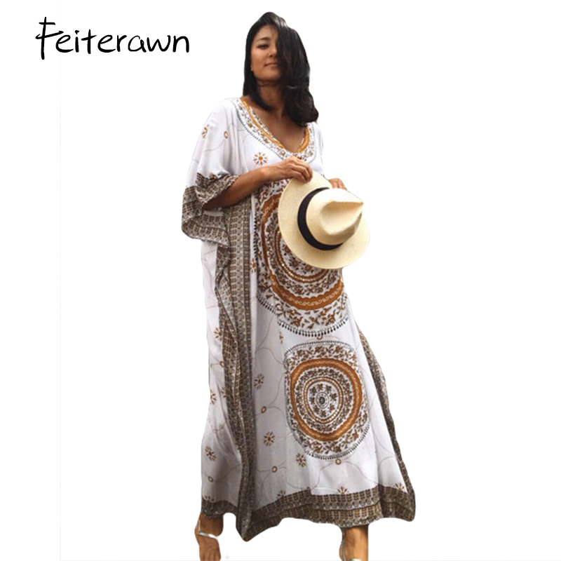 f0438508c017c 2018 Women Bikini Swimsuit Cover Ups African Ethnic Print Kaftan Dress Plus  Size Summer Loose Vintage Long ...